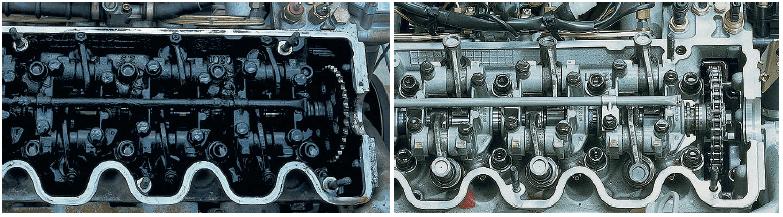 Двигатель до и после очистки