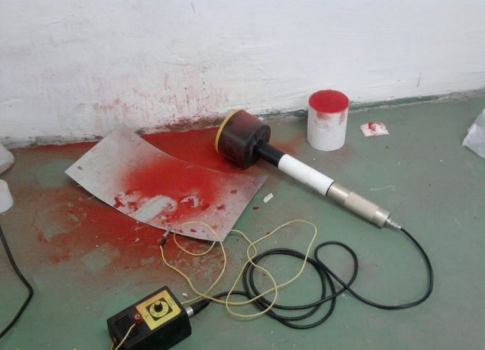 На фото: дефлокатор после распыления.