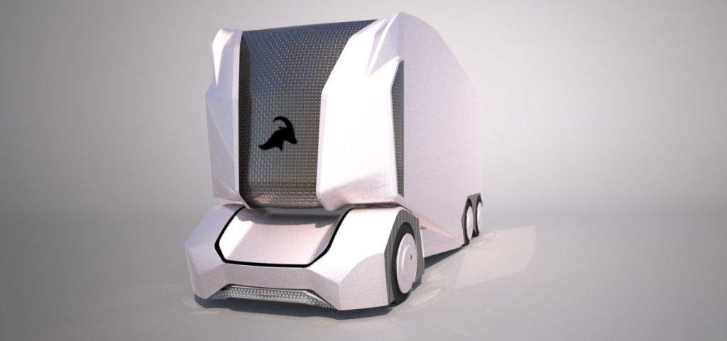 В месте, где размещается кабина водителя на стандартных грузовиках аналогичного типа, размещена LED-панель, на которой в центральной части изображен логотип компании Einride.