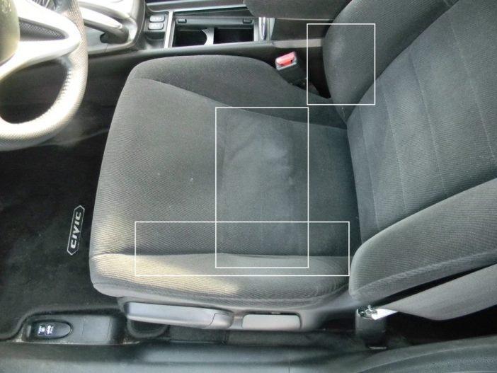 Обивка поверхности сидений четко просматривается по потертостям в местах постоянного контакта с телом водителя. Кроме того, обращайте внимание на цвет, запас, наличия разводов, пятен и повреждений целостности.