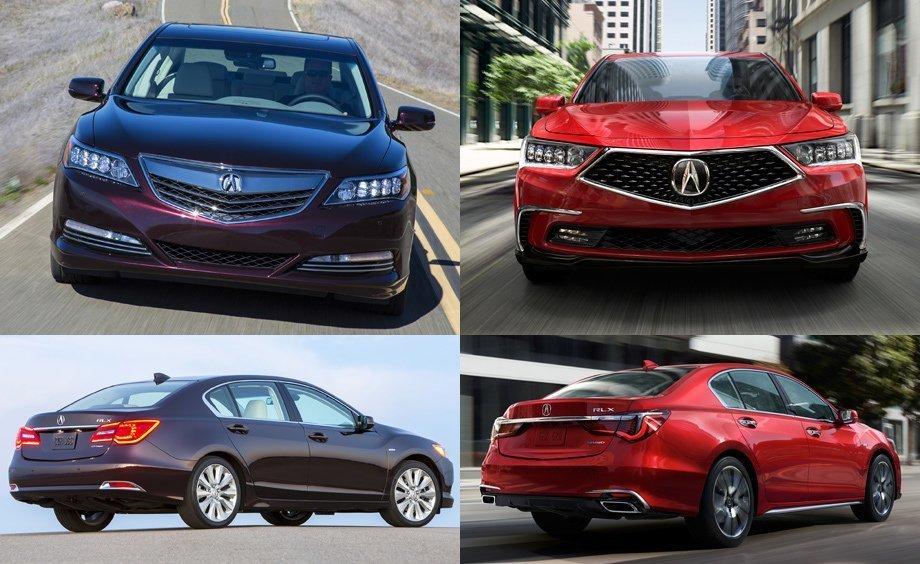 Весь спектр внешних изменений можно оценить по этому изображению. Слева находится Acura RLX 2014 года сборки, а справа рестайлинг модификация 2017 года.